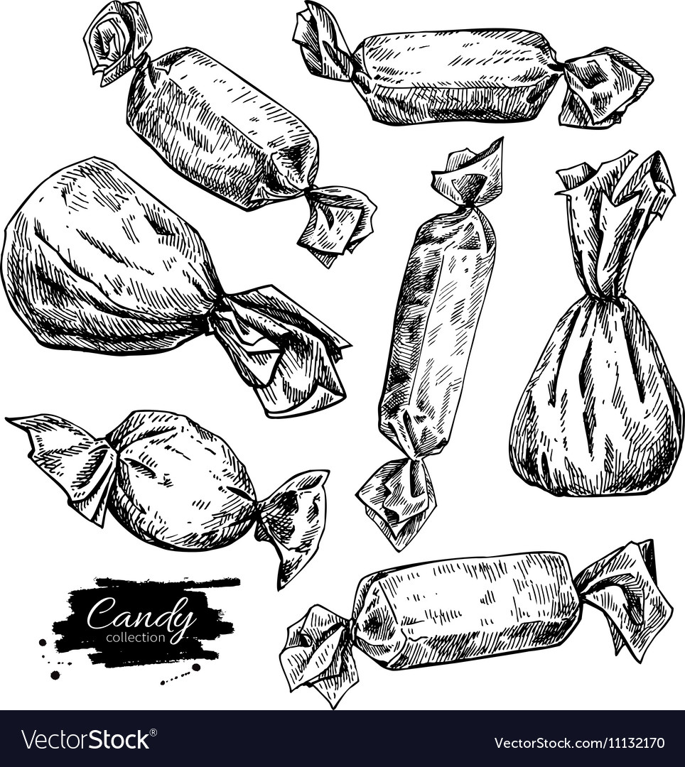 Candy set in hand drawn style isolated vector