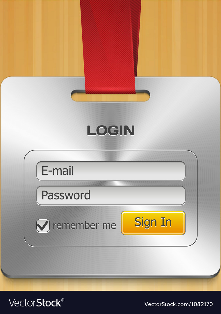 Login form page with brushed metal badge vector