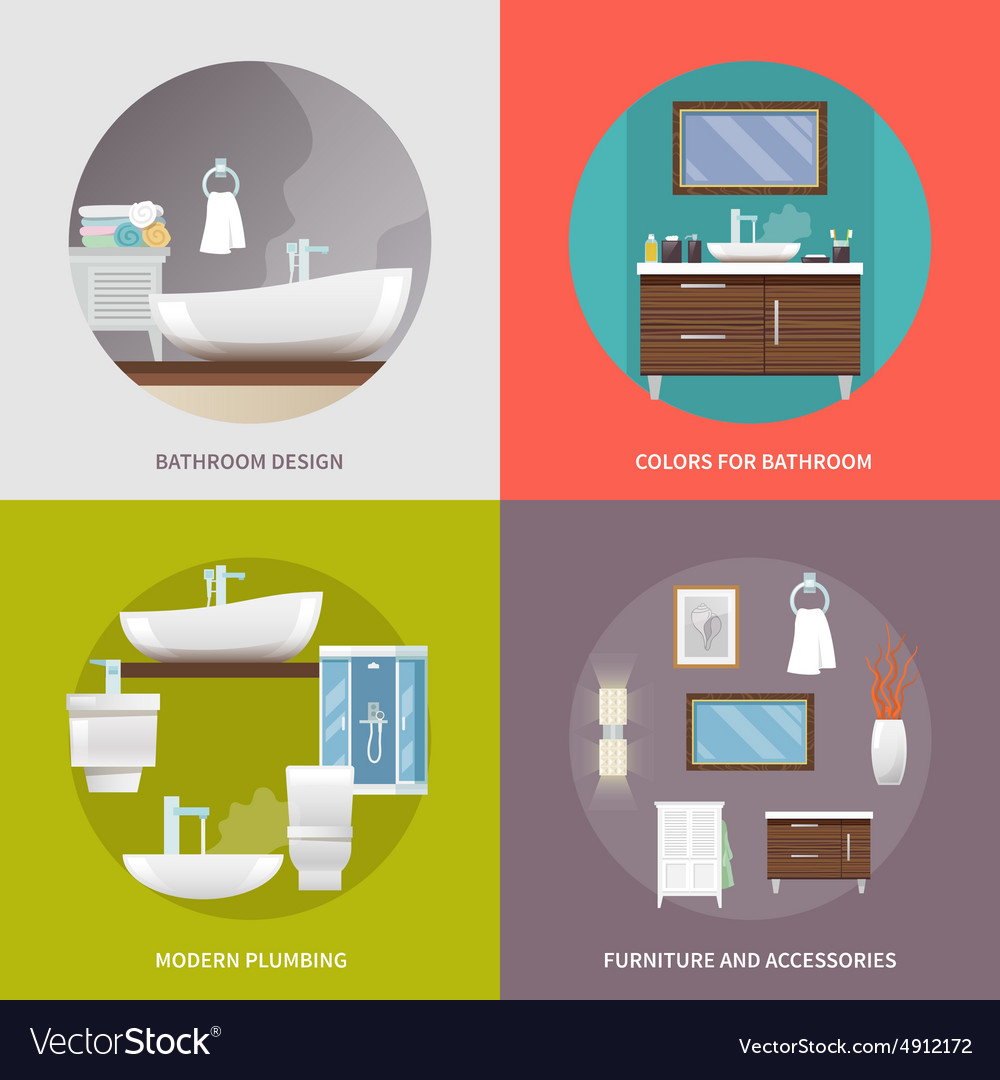 Bathroom furniture flat icons vector