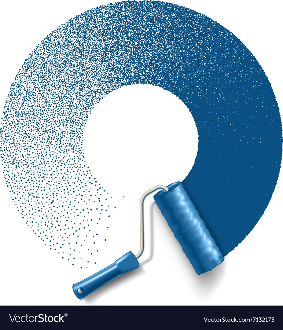 Paint roller brush with blue paint track vector