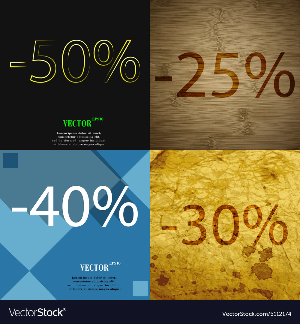 25 40 30 icon set of percent discount on abstract vector