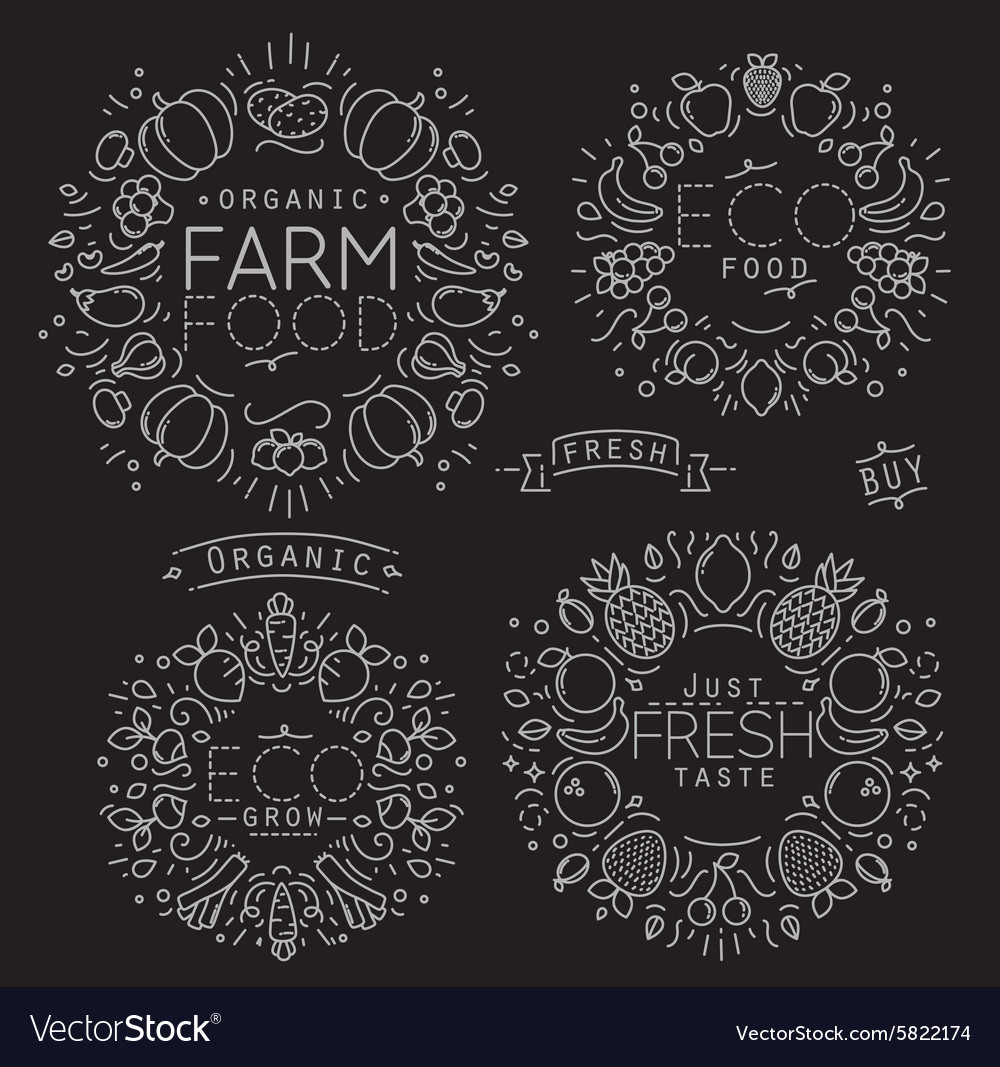 Fruits vegetables monogram black vector