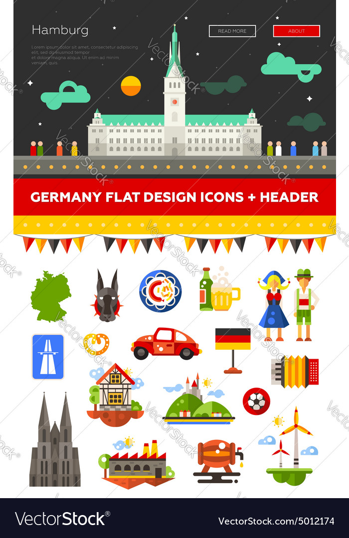 Set of flat design germany travel icons vector