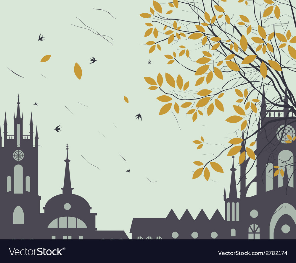 Town fall vector