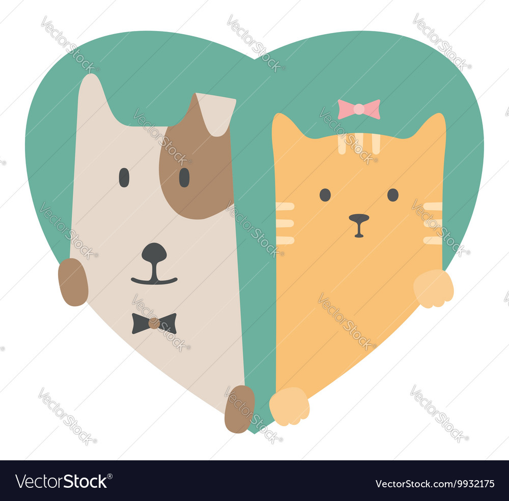 Animal set portrait of a dog and cat in love over vector