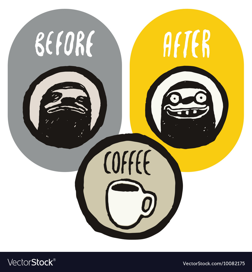 Coffee funny hand drawn poster with sloths vector