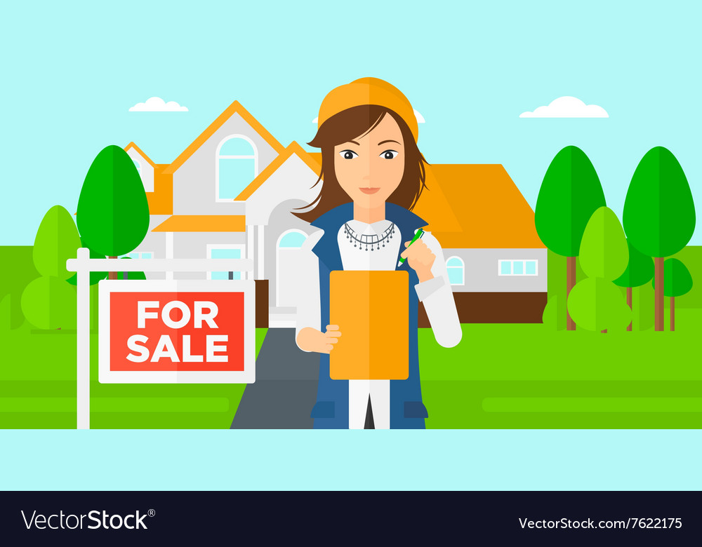 Real estate agent signing contract vector