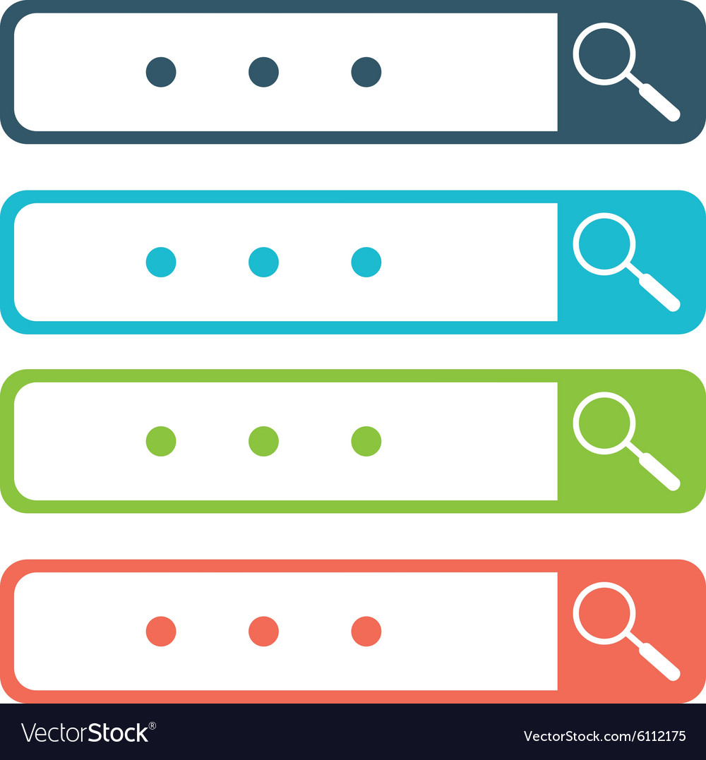Set of search bars flat web design elements vector