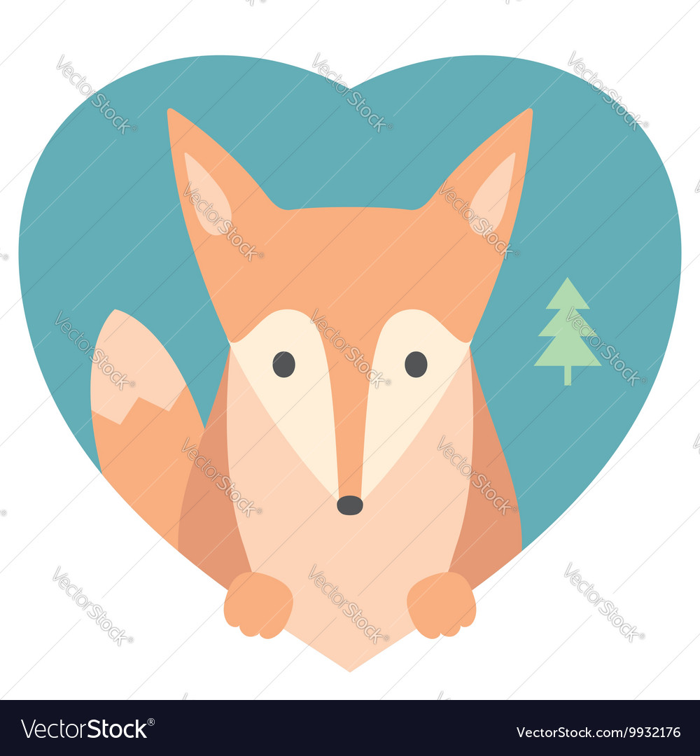 Animal set portrait of a fox in love flat vector
