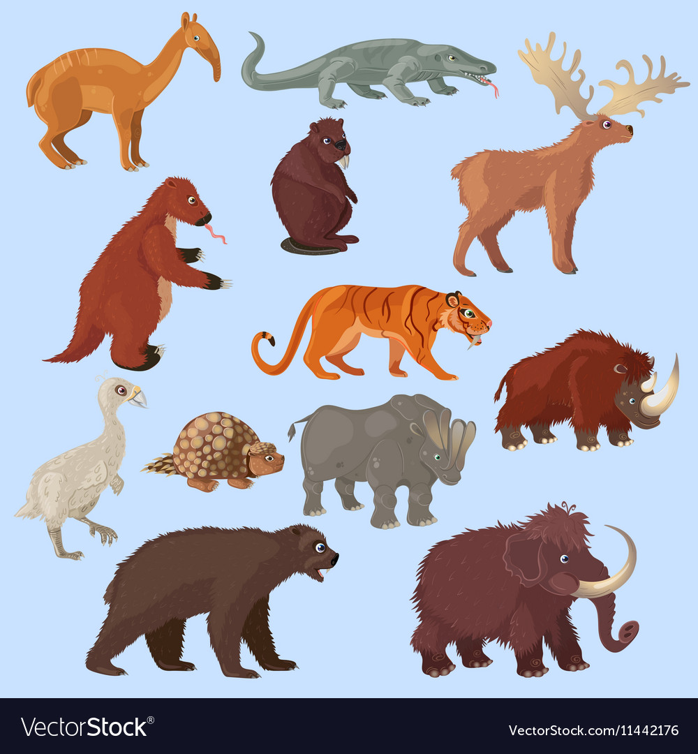 Ice age animals set vector