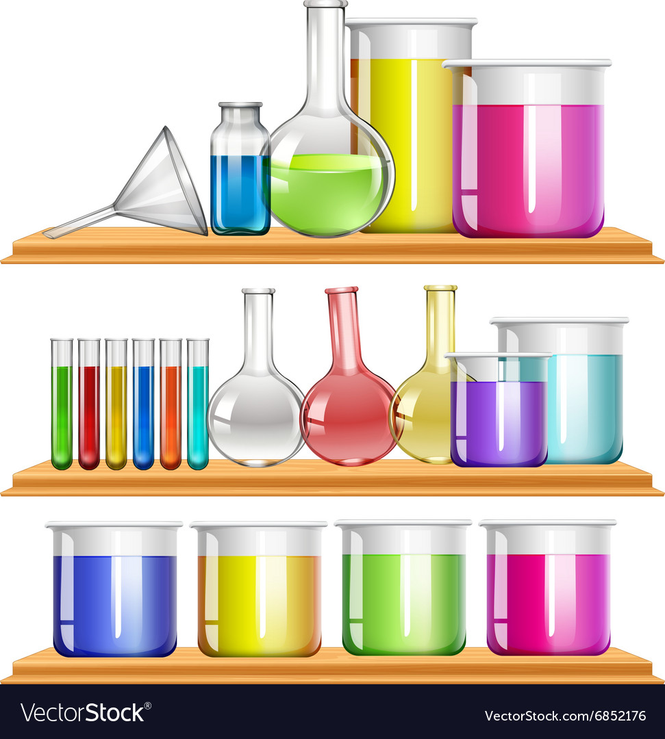 Lab equipment filled with chemical vector