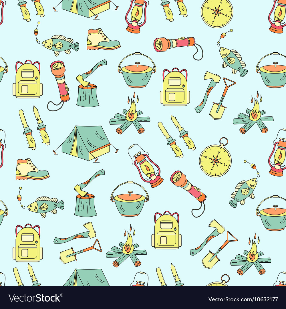 Camping holiday seamless pattern vector
