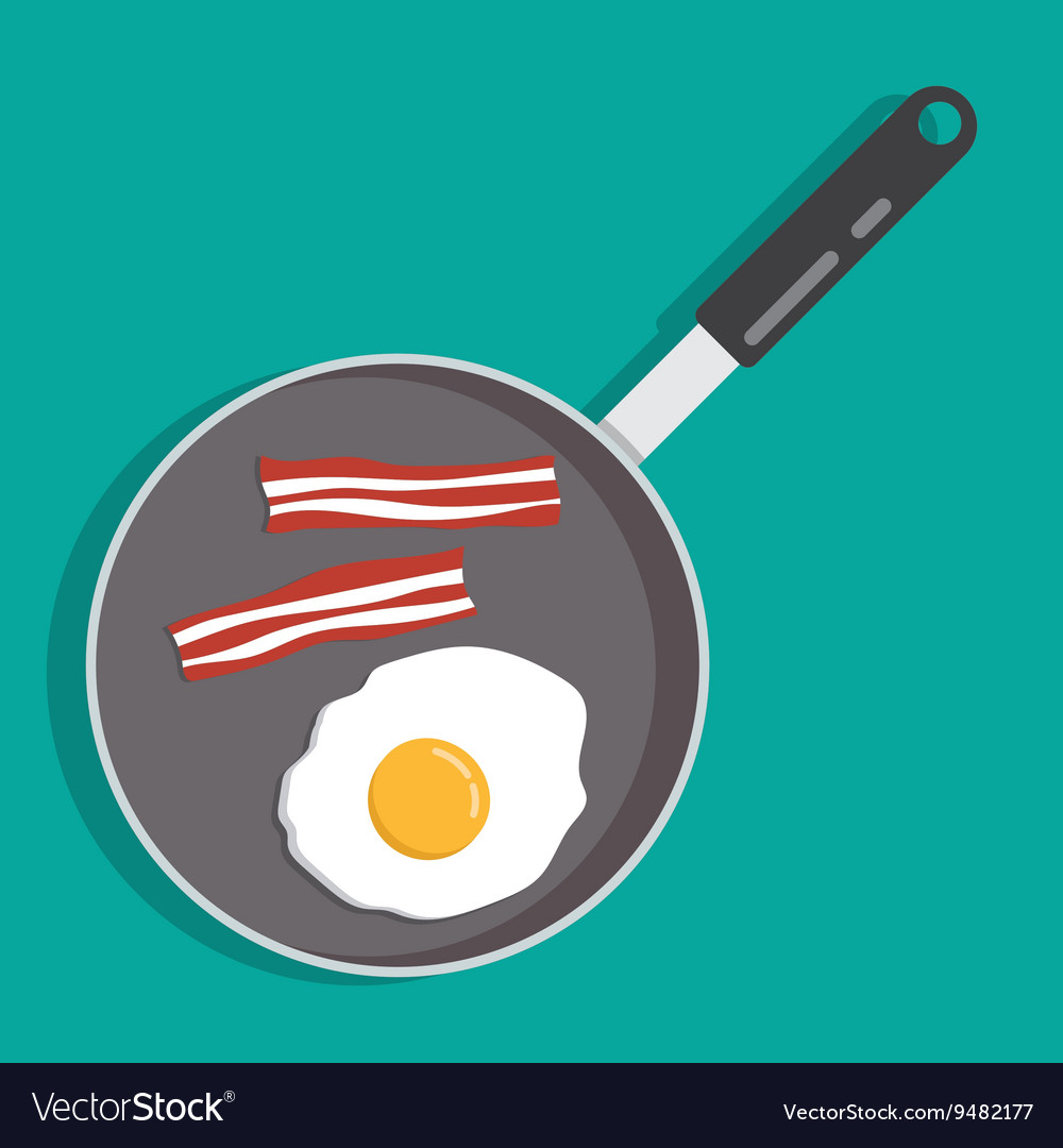 Eggs and bacon in a frying pan vector
