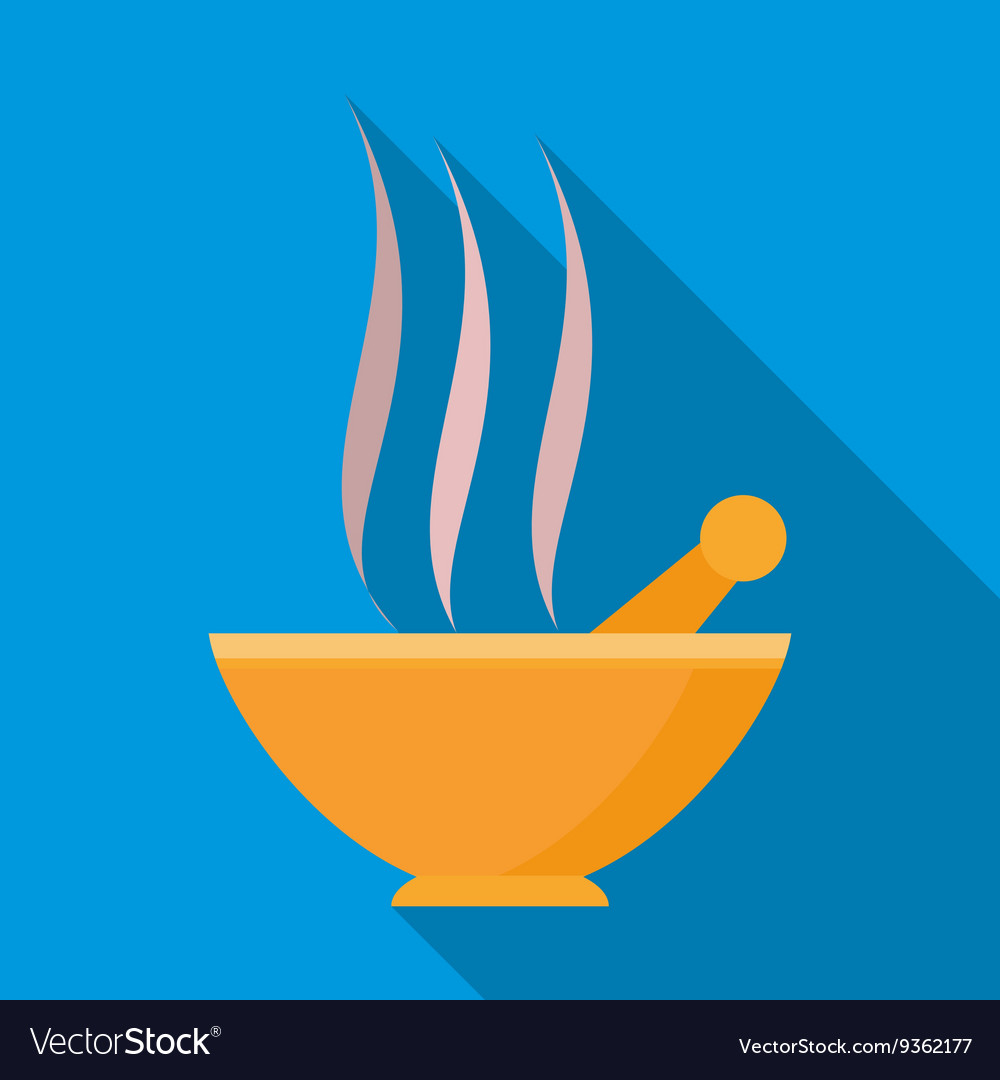 Orange mortar and pestle with steam icon vector