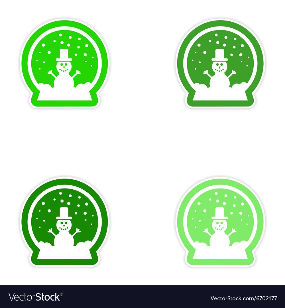 Set of paper stickers on white background snowman vector