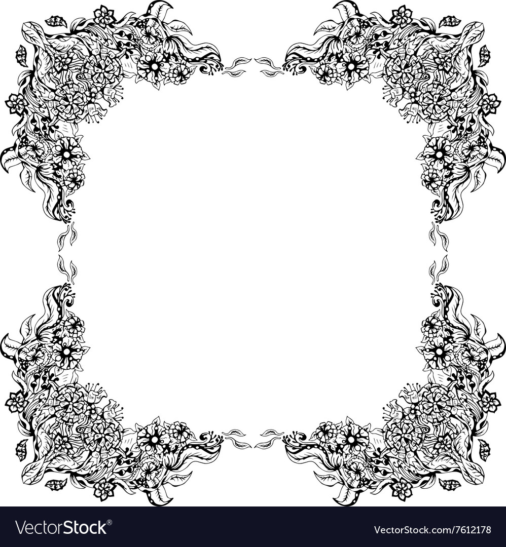 Abstract black and white floral frame vector