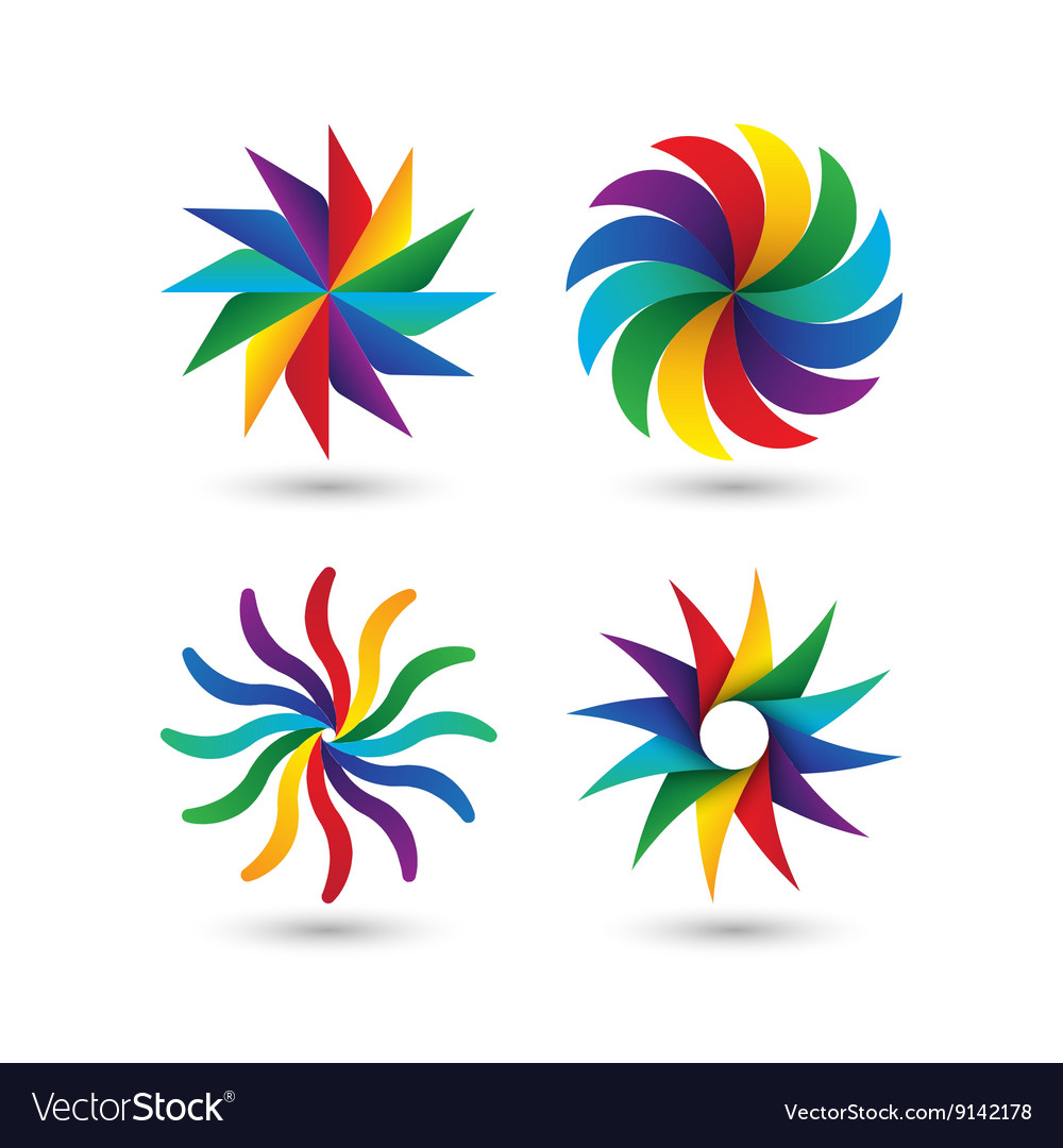 Abstract geometric circle colorful logo icon set vector
