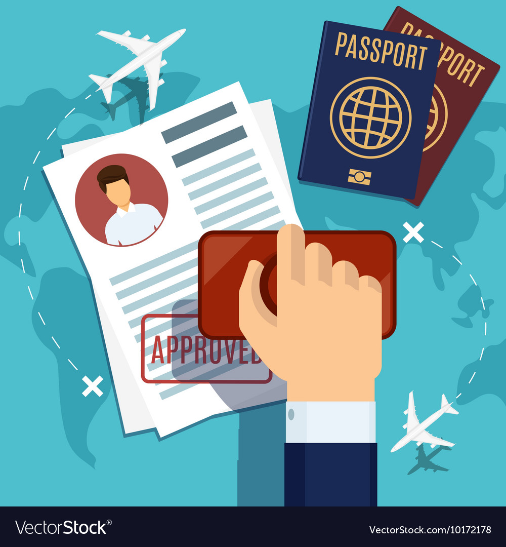 Visa stamping stamp on passport application vector