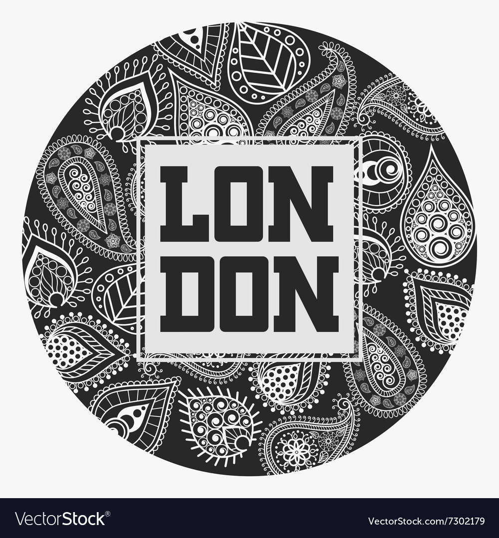 London tshirt with floral ornament vector