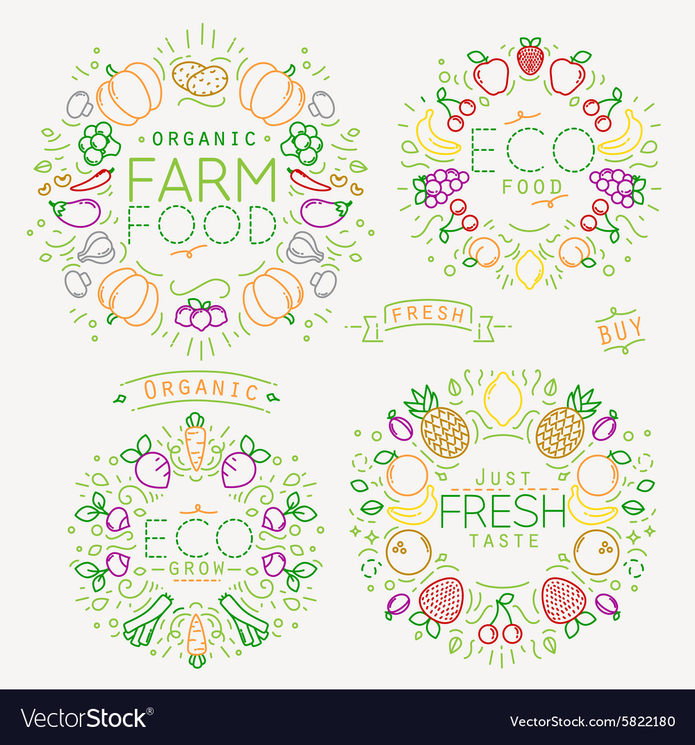Fruits vegetables monograms color vector