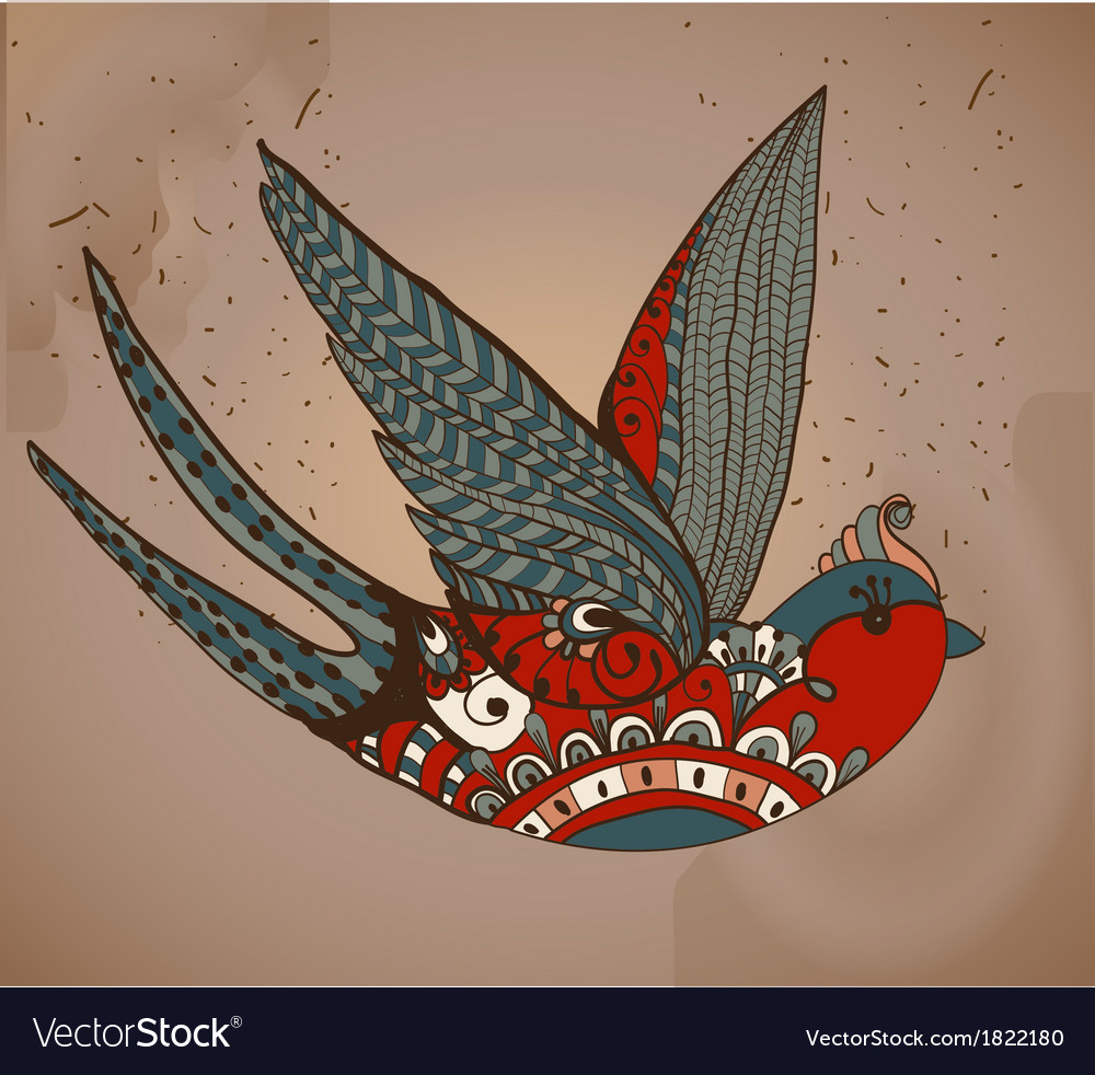 Oldschool style tattoo swallow vintage valentine vector
