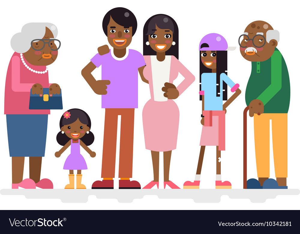 African family characters child teen adult old vector
