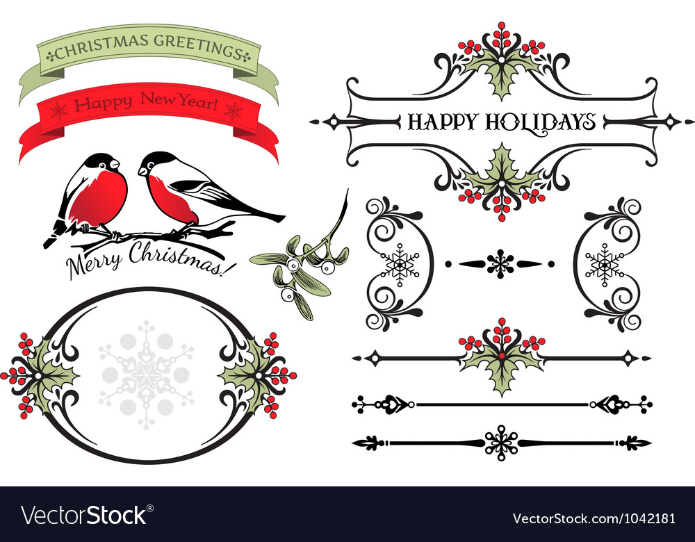 Holly calligraphic set vector