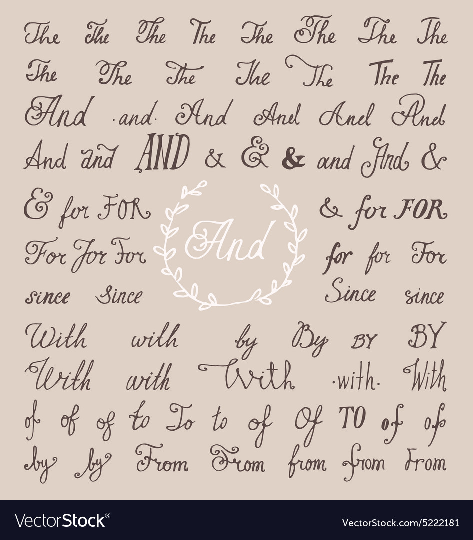 Set hand lettered ampersands and catchwords with vector
