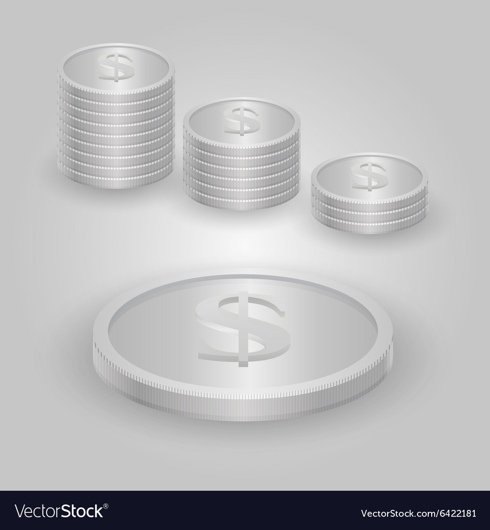 Silver coin with dollar sign vector