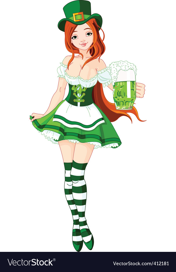 St patricks day girl vector