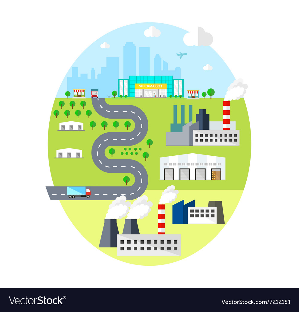 Urban landscape  with city factories warehouses vector