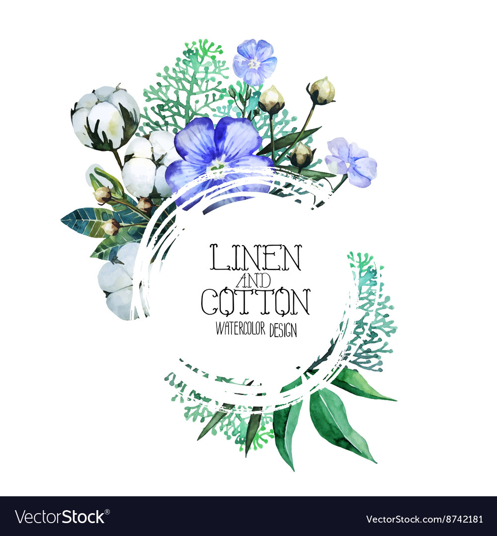Watercolor linen and cotton vector