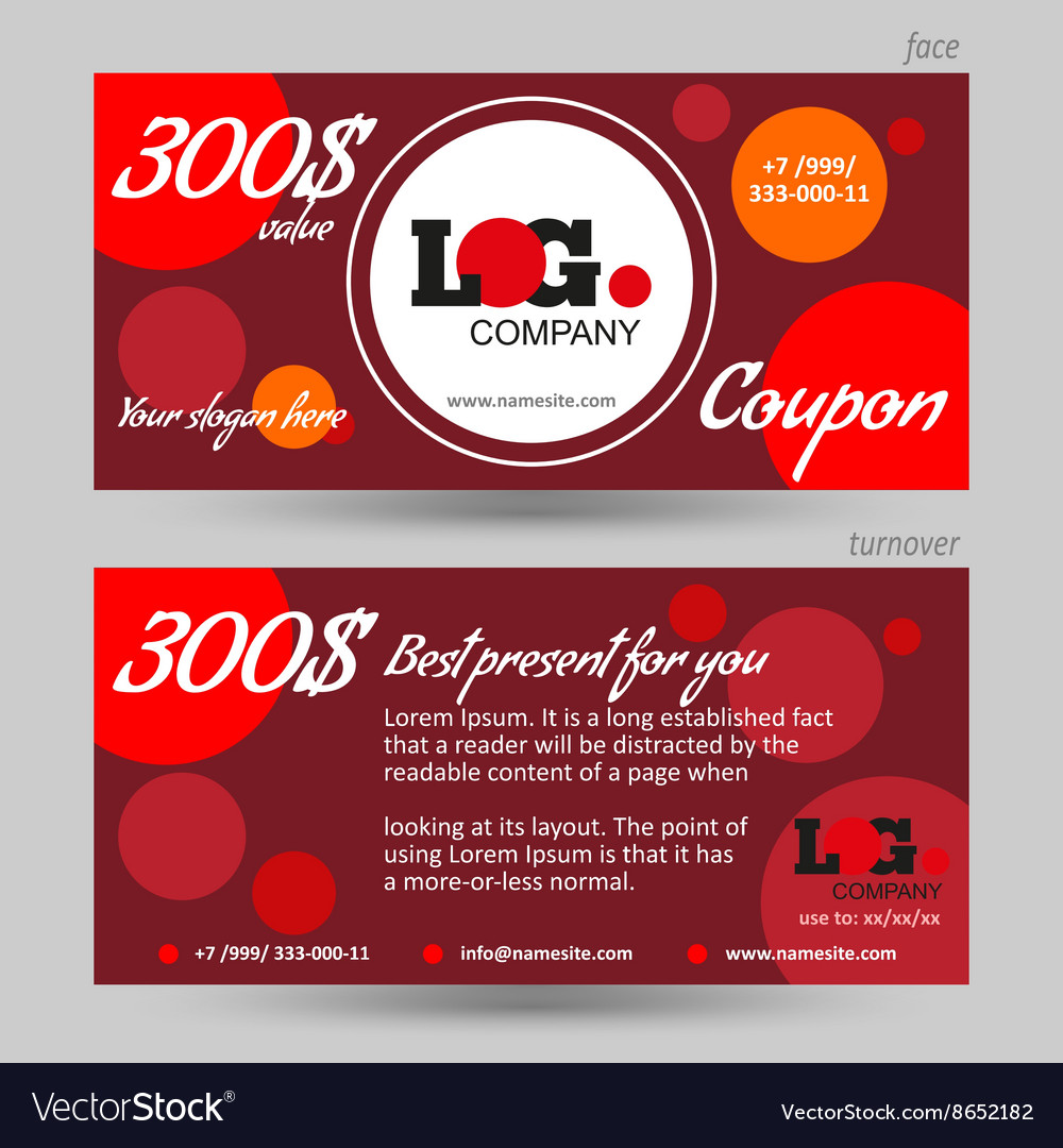 Discount coupon template red background vector