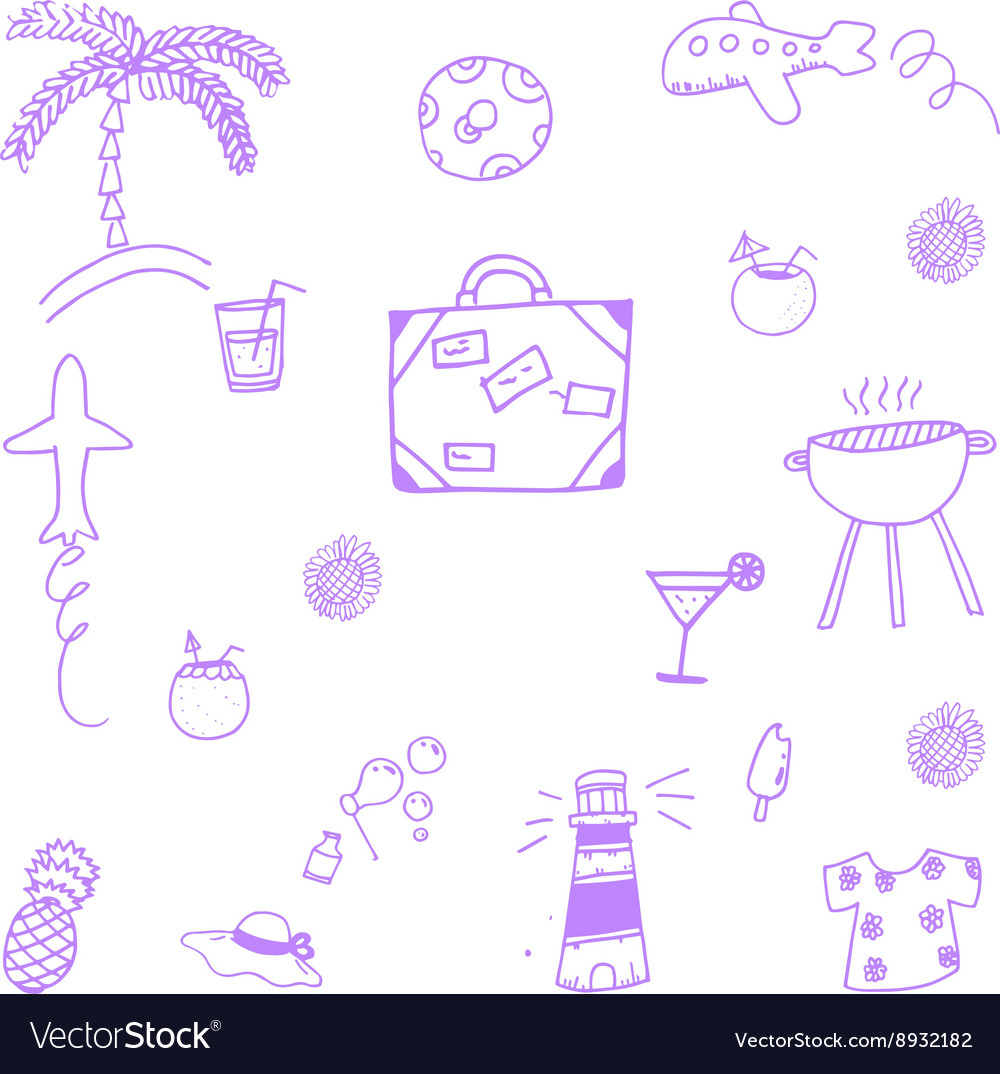 Hand drawn summer time doodle vector