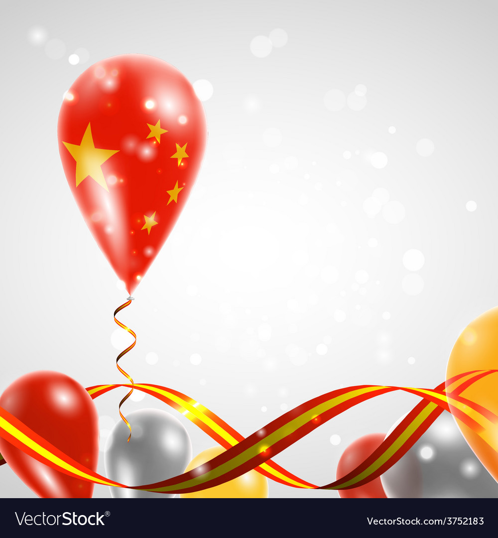 Flag of china on balloon vector
