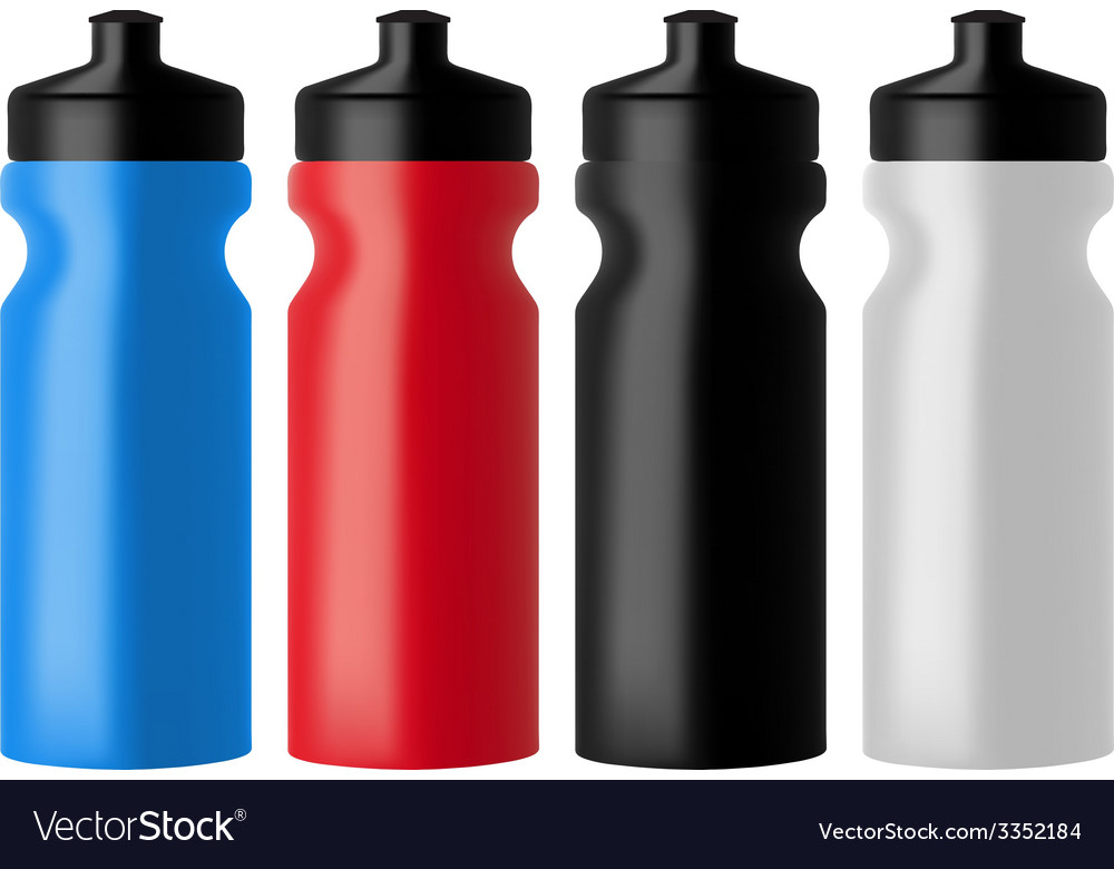 Set realistic sports water bottles vector