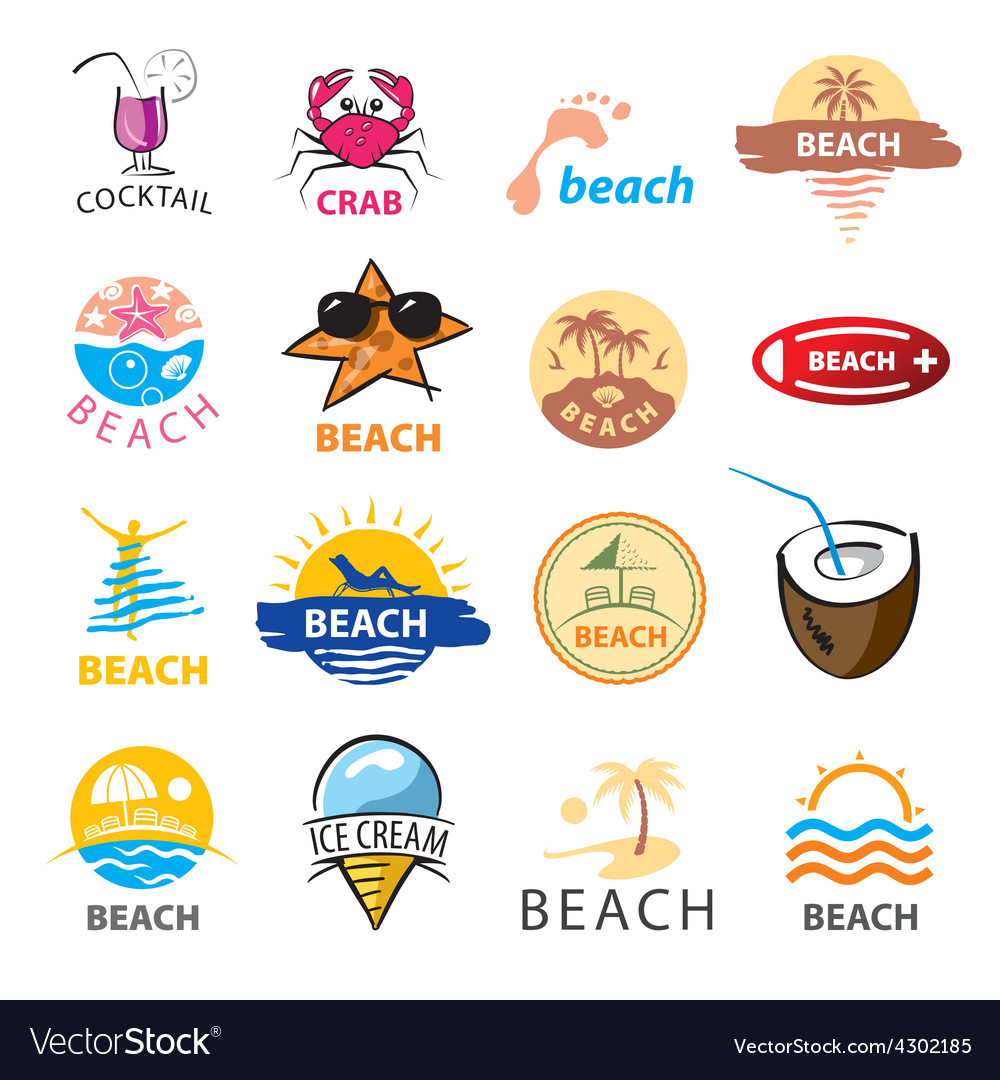 Biggest collection of logos beach palm trees sea vector