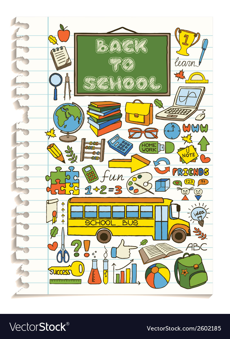 Colorful doodle school icons set vector