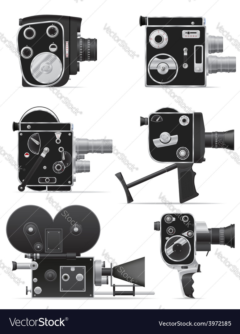 Old retro vintage movie video camera 06 vector