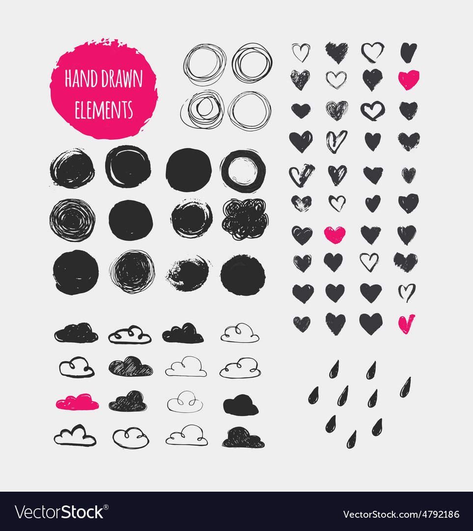 Hand drawn shapes icons elements and hearts vector