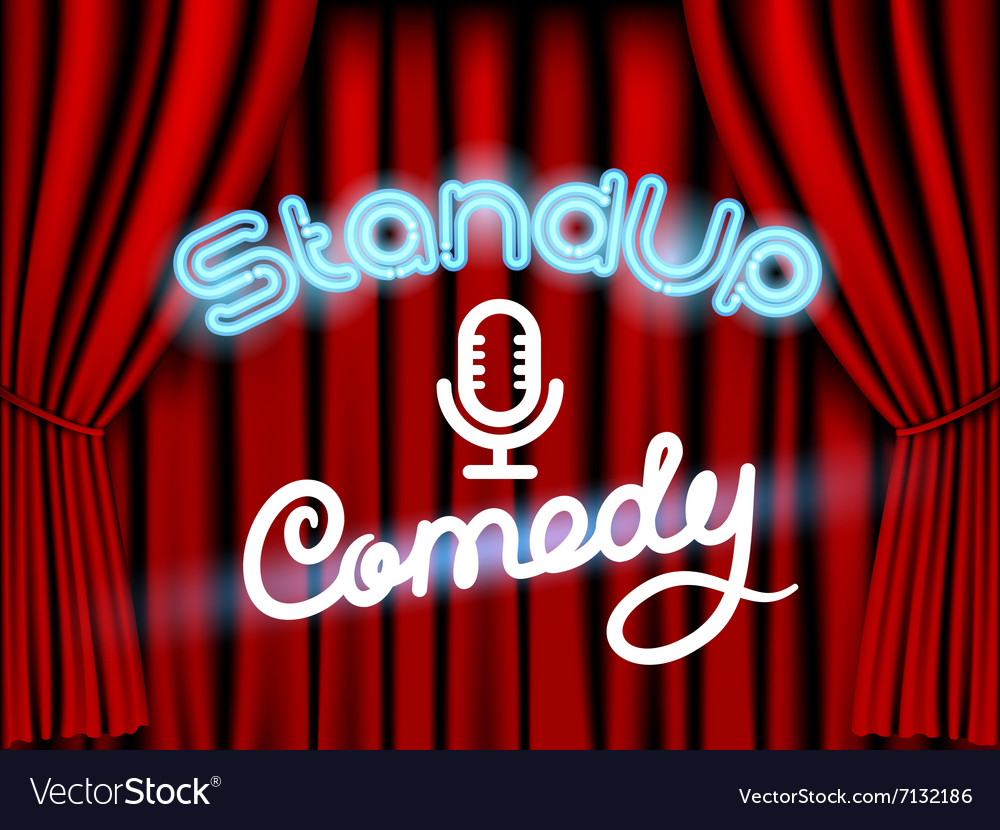 Stand up comedy red curtain vector