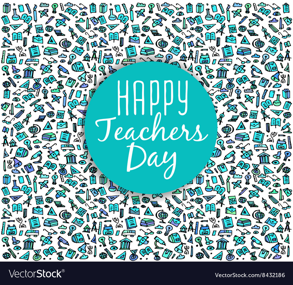 Teachers dayschool doodles supplies sketchy vector