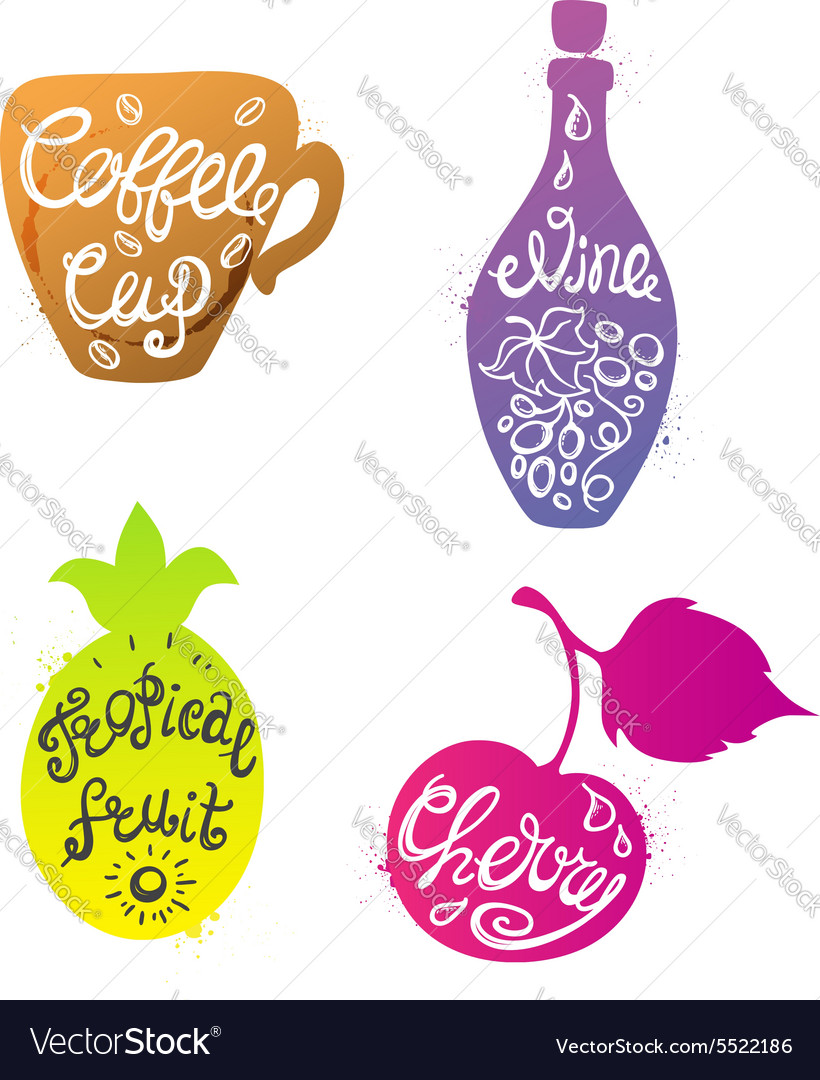 Various silhouettes with calligraphic inscriptions vector