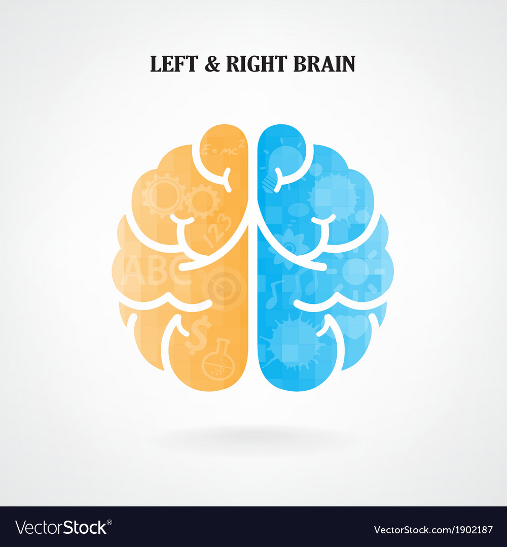 Creative left and right brain sign vector