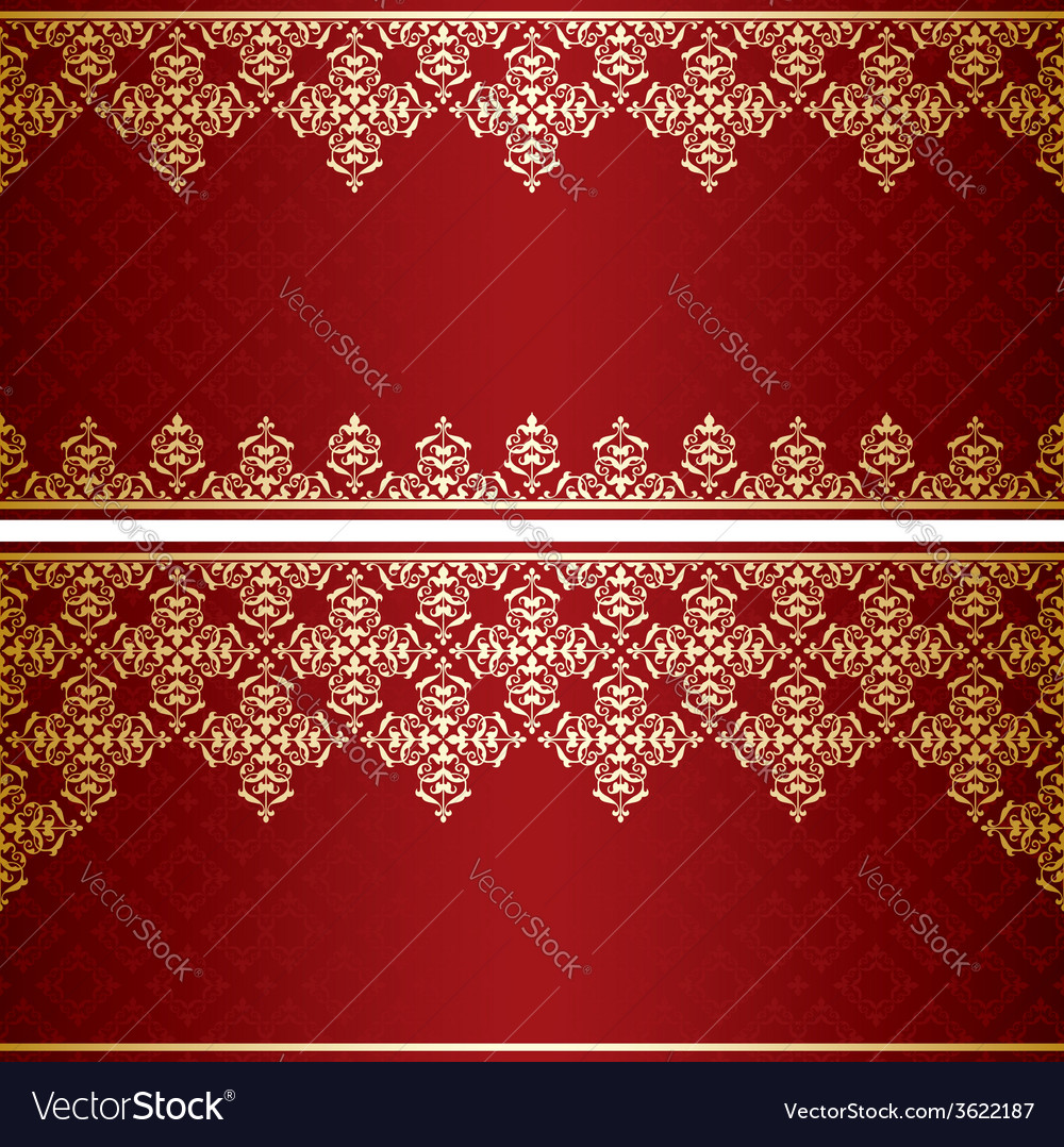 Dark red card with gold vintage ornament vector