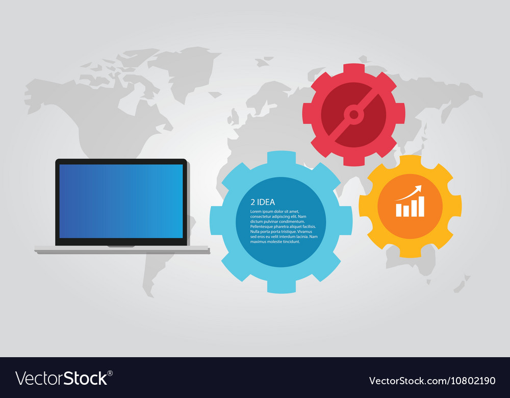Information technology computer laptop infographic vector