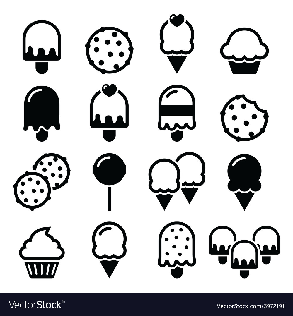 Food desserts icons  cupcake icecream cookie vector