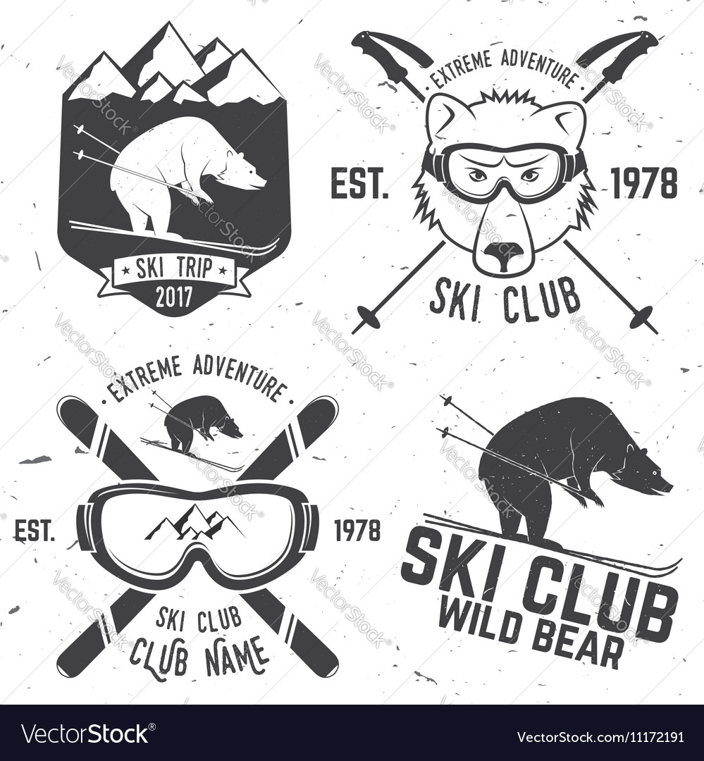 Ski club retro badge vector