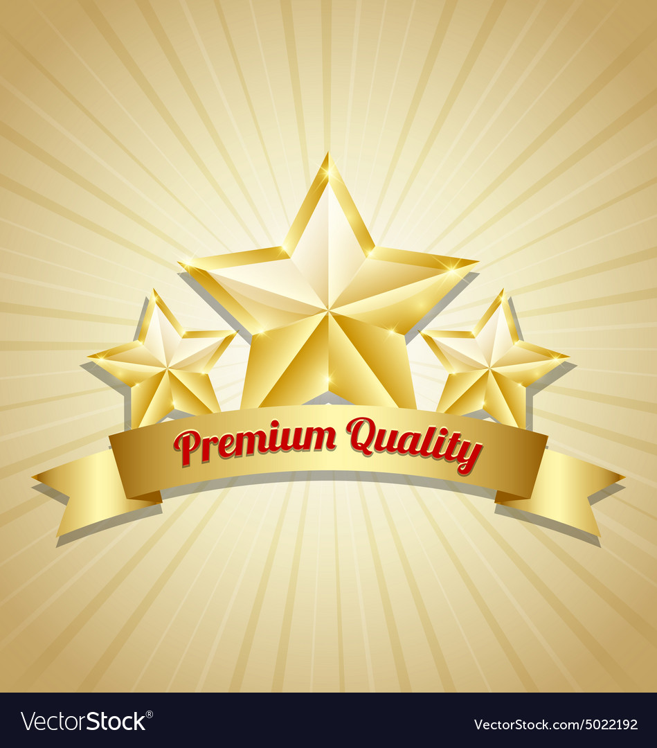 Three golden stars symbol vector