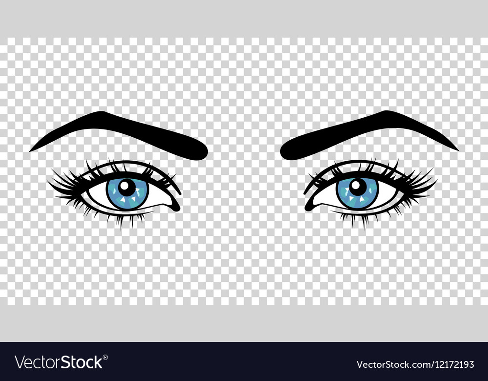 Blue female eyes with long lashes and make vector